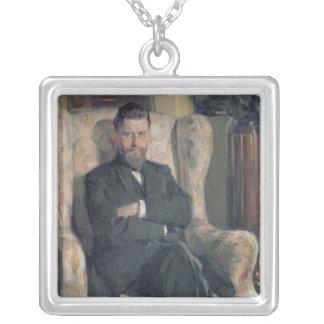 Portrait of the collector Alexei A. Bakhrush Square Pendant Necklace