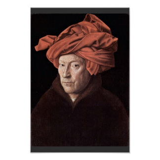 Portrait Of The Man With The Turban,  By Eyck Jan Poster