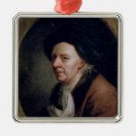 Portrait of the Mathematician Leonard Euler Silver-Colored Square Ornament
