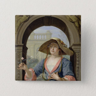 Portrait of the Mistress of the Artist M.C 2 Inch Square Button