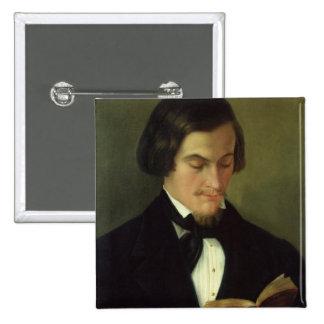 Portrait of the poet Heinrich Heine  1842 2 Inch Square Button