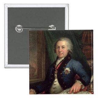 Portrait of the Russian poet Gavril Derzhavin 2 Inch Square Button