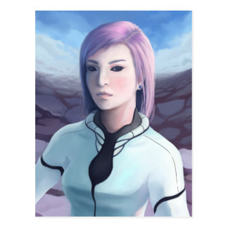 Portrait of Trisha - Futuristic Girl Painting Postcard