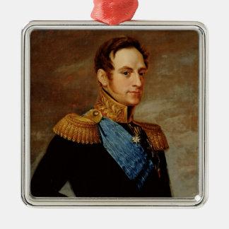 Portrait of Tsar Nicholas I  1826 Silver-Colored Square Ornament