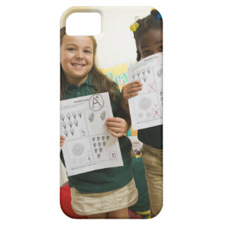 Portrait of two preschool girls with A plus and iPhone 5 Case