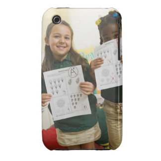 Portrait of two preschool girls with A plus and iPhone 3 Cases