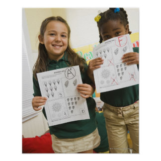 Portrait of two preschool girls with A plus and Poster