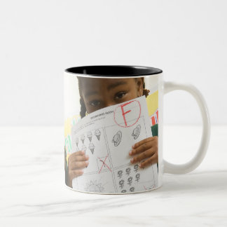 Portrait of two preschool girls with A plus and Two-Tone Coffee Mug