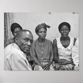 Portrait of Ugandans having a village meeting Poster