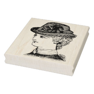 Portrait of Victorian Lady Rubber Art Stamp