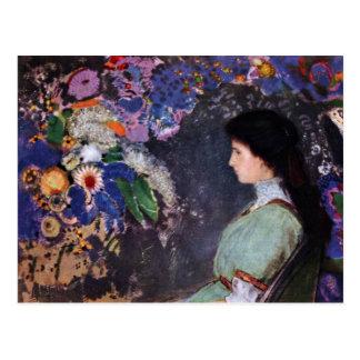 Portrait Of Violette Heymann By Odilon Redon Postcard