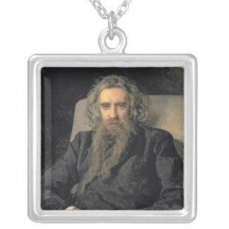 Portrait of Vladimir Sergeyevich Solovyov , 1895 Silver Plated Necklace