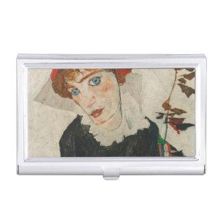 Portrait of Wally by Egon Schiele Business Card Holder