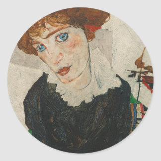 Portrait of Wally by Egon Schiele Classic Round Sticker