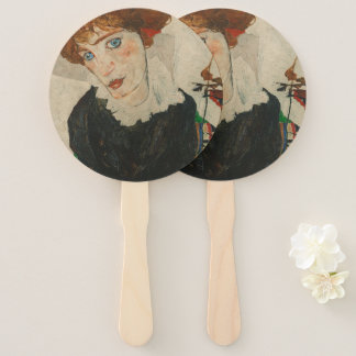 Portrait of Wally by Egon Schiele Hand Fan