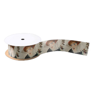 Portrait of Wally by Egon Schiele Satin Ribbon