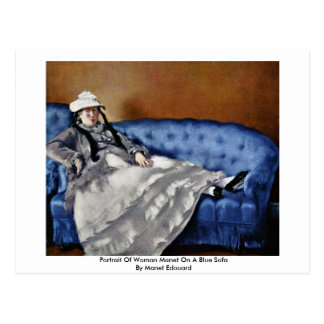 Portrait Of Woman Manet On A Blue Sofa Postcard
