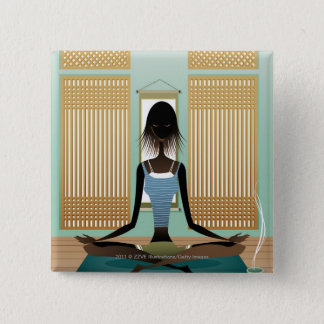 Portrait of young woman doing yoga 2 inch square button