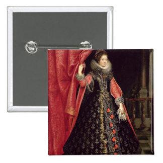 Portrait presumed to be Henrietta Maria of 2 Inch Square Button