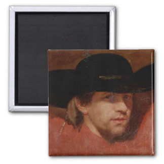 Portrait, presumed to be the artist, 1775 square magnet