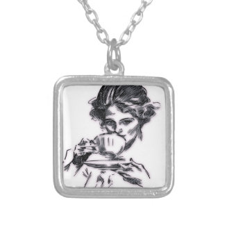 Portrait Silver Plated Necklace