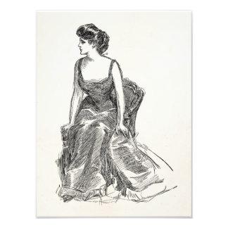 Portrait vintage de femme d Edwardian de fille de Impression Photographique