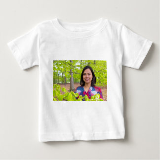 Portrait woman with green leaves in spring baby T-Shirt