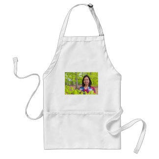 Portrait woman with green leaves in spring standard apron