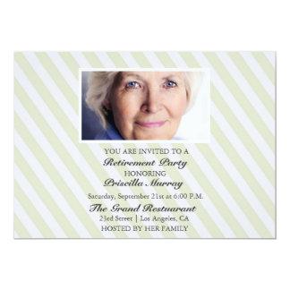 Portrait Yellow Stripes Retirement Party Card