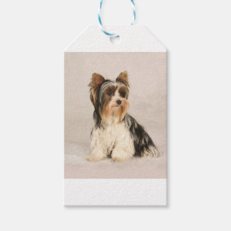 Portrait Yorkie Miss Mia Photo painting Gift Tags
