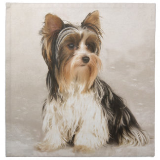 Portrait Yorkie Miss Mia Photo painting Napkin