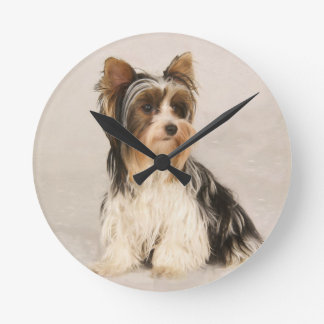 Portrait Yorkie Miss Mia Photo painting Round Clock