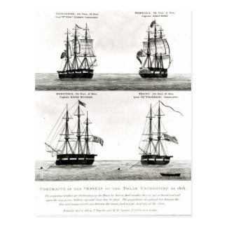 Portraits of the vessels on the Polar Expedition Postcard