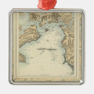 Ports and Harbours on the South Coast of England Silver-Colored Square Ornament