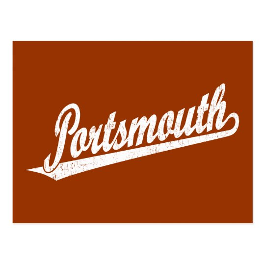 Portsmouth script logo in white distressed postcard