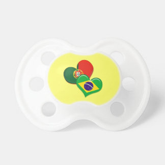 Portugal and Brazil hearts Baby Pacifier