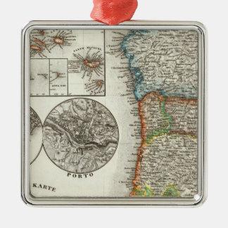 Portugal and Cape Verde Islands Silver-Colored Square Ornament