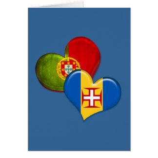 Portugal and Madeira hearts Greeting Card