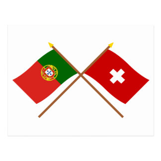 Portugal and Switzerland Crossed Flags Post Cards