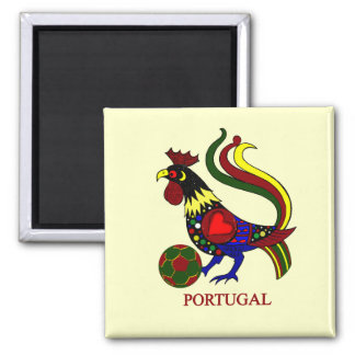 """Portugal barcelos """"galo"""" jogador de futebol square magnet"""