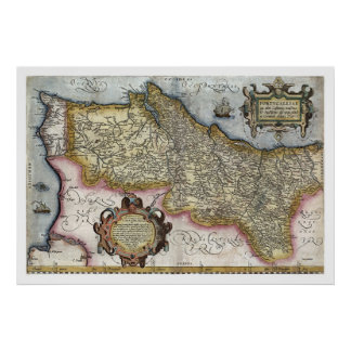 Portugal by Ortelius Map 1579 Poster