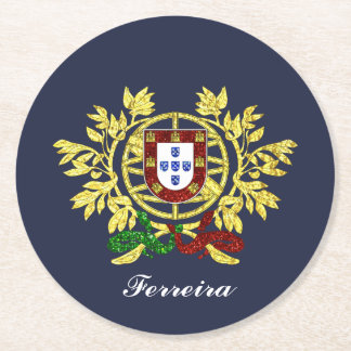 Portugal Coat of Arms Your Text Color Round Paper Coaster
