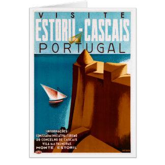 Portugal Estoril Vintage Travel Poster Restored Card