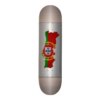 Portugal Flag and Map Steel Metal Hole Skate Board