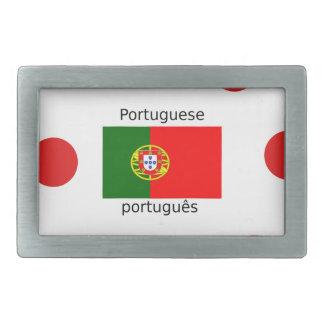 Portugal Flag And Portuguese Language Design Rectangular Belt Buckle