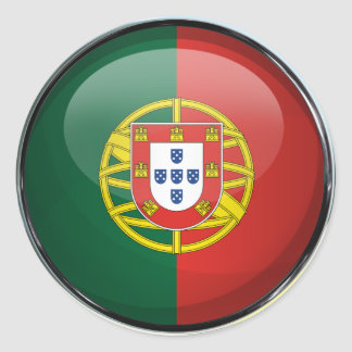 Portugal Flag Glass Ball Classic Round Sticker