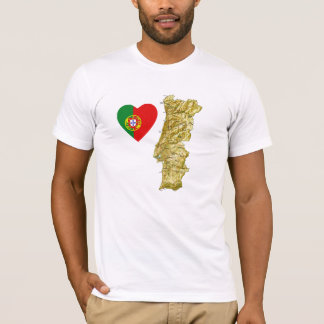 Portugal Flag Heart and Map T-Shirt