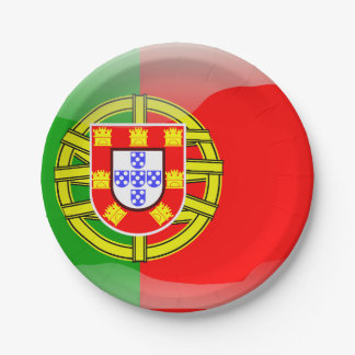 Portugal glossy flag paper plate