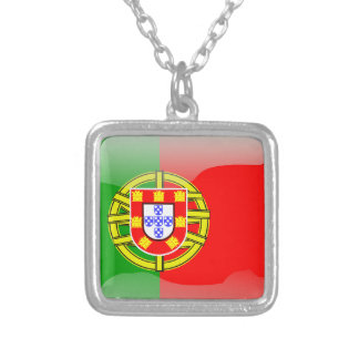 Portugal glossy flag silver plated necklace