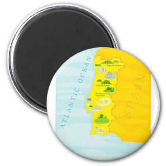 Portugal map 2 inch round magnet